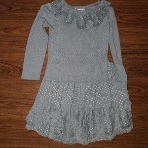 Girls Sz 12 Halabaloo Grey Polka Dot Shirt Skirt